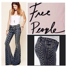 """Free People Boho Floral Bali Flare Jeans.  NWT. Free People Boho Floral Bali Flared Jeans, 71% cotton, 28% polyester, 1% spandex, machine washable, 30"""" waist, 9"""" front rise, 12.75"""" back rise, 34.5"""" inseam, 26"""" flare leg all around, faded at thighs and seat, bottom hem is raw edge and frayed, five pockets, zip fly button closure, stretchy, measurements are approx.  No PayPal..No Trades.. Free People Jeans Flare & Wide Leg"""