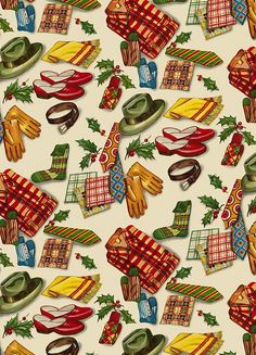 Vintage Christmas Gift Wrap - Use the largest image to print out your own wrapping paper! Vintage Christmas Wrapping Paper, Vintage Christmas Images, Old Fashioned Christmas, Christmas Past, Christmas Gift Wrapping, Retro Christmas, Vintage Holiday, Vintage Paper, 50s Vintage