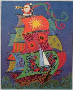 #582 60s Norcross Mod Santa on the Sailing Ship-Vintage Christmas Greeting Card