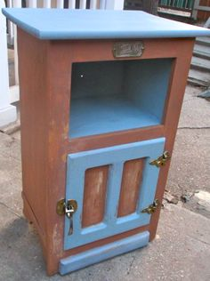 i have a tall one like this, thinking about paint but not these colors...  white clad piece in two tone milk paint and wax