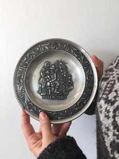 Pewter Christmas Plate Astri Holthe Julen 1980 Collectible Pewter Plate Norwegian Pewter Norsk Made In Norway Norwegian Wall Decor