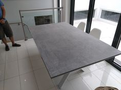Extendable version of our dining table Xenon with Dekton KRETA top and white matt legs. Available in other sizes. Delivered to our client in London. Leather Bed, Sofa Design, Modern Bedroom, Contemporary Furniture, Sofas, Dining Table, London, Legs, Cabinet