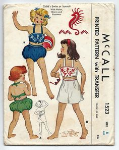 Vintage 1950s McCall 1523 Girls Two Piece by PinkPolkaDotButton
