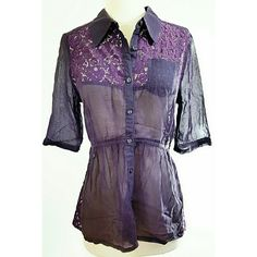 Free People Plum Colored Blouse w/ 3/4 sleeves This button up by Free People has sheer waist and cinch waist that ties in the back.  Beautiful Detail with open floral design on back and front! One pocket on front, this blouse is like new, no flaws or imperfections! Free People Tops Button Down Shirts