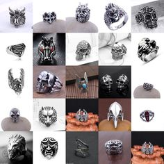 Vintage Men s Stainless Steel Fashion Gothic Punk Biker Finger Rings Jewelry New  | eBay
