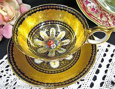 AYNSLEY TEA CUP AND SAUCER ATHENS COBALT RICH GOLD ENCRUSTED TEACUP BAILEY  HPT