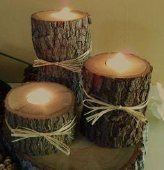 TREASURY ITEM - (Set of 3)  -   Oak  Tree Trunk Candleholders - Rustic Wedding, Thanksgiving, Christmas decor. $15.00, via Etsy.