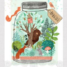 Rebecca Jones | Woodland scene with bear in jar