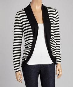 Craft+a+lovely+layered+look+with+this+stylish+open+cardigan.+Boasting+a+relaxed,+draped+silhouette+and+eye-catching+stripes,+it's+a+fashionable+finishing+touch+for+any+ensemble.