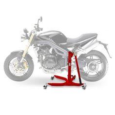 Bequille d'atelier Moto Centrale ConStands Power Triumph Speed Triple 05-10, adapteur+roulettes incl. rouge mat