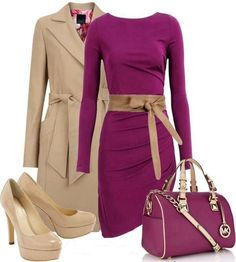 Purple sleeves dress with nude belt