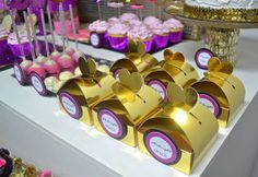 Gold party favors at a glitter girls night party!  See more party planning ideas at CatchMyParty.com