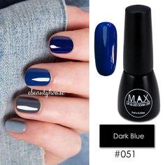 4.49AUD - Max 7Ml Nail Art Color Uv Led Soak Off Gel Polish 051-Dark Blue #ebay #Fashion