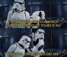 1. Finn's Stormtrooper ID number is FN-2187, which is the same number as the cell block where Leia is imprisoned in A New Hope.