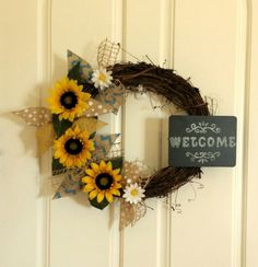 Grapevine wreath with sunflowers made by Audrey Rose