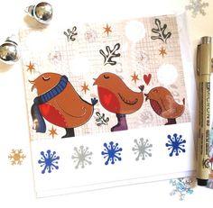 Robin Family Christmas Card  Cute Robins Festive by Slumbermonkey