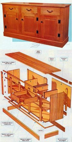 Sideboard Plans - Furniture Plans a nd Projects | WoodArchivist.com Woodworking Shows, Woodworking Basics, Woodworking Projects That Sell, Woodworking Joints, Woodworking Workbench, Woodworking Techniques, Woodworking Furniture, Diy Wood Projects, Furniture Projects