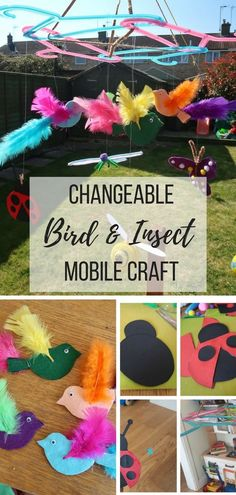 Bird and Insect Mobile craft - How to make a bird and insect mobile with removable birds and insects. Change the theme of the mobile. Spring Crafts For Kids, Craft Projects For Kids, Crafts For Girls, Easy Crafts For Kids, Summer Crafts, Toddler Crafts, Craft Ideas, Craft Tutorials, Art Projects