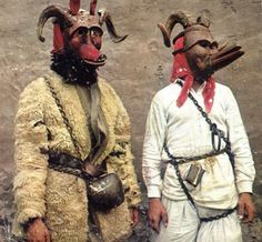 two masks - source unknown Demon Haunted World, Goat Mask, Morris Dancing, Season Of The Witch, Cool Masks, Moon Goddess, Tribal Art, Folklore, Masquerade