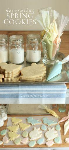 Easter Sugar Cookies | Creamy Buttery Glaze Recipe Easter Cookies, Easter Treats, Holiday Cookies, Cupcake Cookies, Holiday Treats, Holiday Recipes, Cupcakes, Cookie Desserts, Cookie Recipes