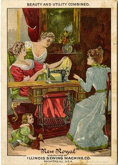 """New Royal"" Sewing Machine (front) Victorian Trade Card ~ Beauty and Utility Combined"