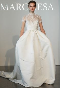 High-neck wedding gown, Marchesa #Bridal Spring 2015 #Fashion