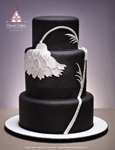 Black Wedding Cake with White Flower - Classic Cakes and Confections - Phoenix, AZ