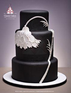Black, White Flower Cake