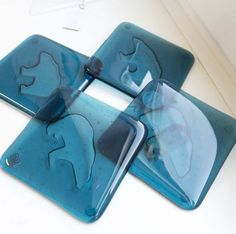 Fused glass - coasters with polar bears
