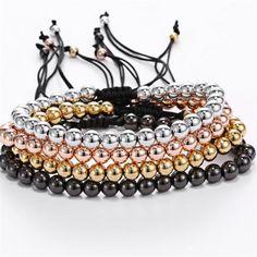 2016 New Brand Men Wish Bracelets,6mm Silver Round Beads Braiding Macrame Bracelet For Men and Women 24K Gold Plated Bangle