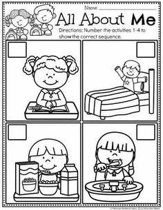 Seqence Worksheets for Preschool - All About Me theme #preschoolactivities #planningplaytime #backtoschool #preschoolworksheets