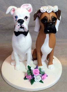 Custom sculpted Boxer dog wedding cake topper www.laurievalko.com