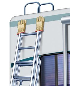 Quick RV Tip: To protect the paint on your motorhome or RV trailer when leaning a ladder against it, put gloves on the tips of the ladder! (Or anything you are leaning a ladder! Camper Life, Rv Campers, Rv Life, Go Camping, Camping Hacks, Camping Ideas, Rv Hacks, Camping Stuff, Camping Guide