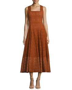 Derek Lam Sleeveless Eyelet Midi Dress, Orange