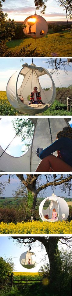 The Hanging Tent Company has produced a suspended tent called the roomoon. Its sphere-shaped, portable tent that hangs among the trees.