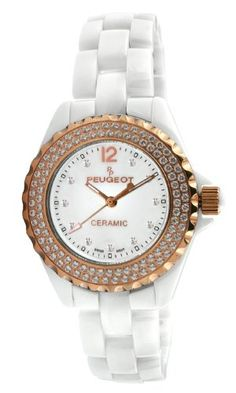 Peugeot Womens PS4892WR Swiss Ceramic Swarovski Crystal White Dial Watch *** Click on the image for additional details. (Note:Amazon affiliate link)