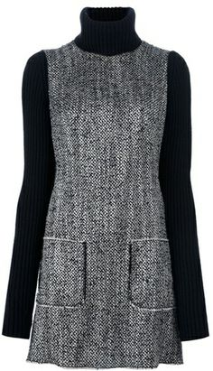 DOLCE & GABBANA Long Sleeve Contrast Dress