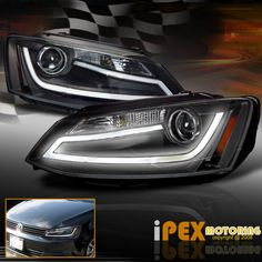 2011 2012 2013 2014 VW Jetta MK6 MK-6 ( LED DRL Bar ) Projector Black Headlights #SDTuning
