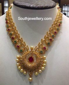 22 carat gold uncut diamond mango necklace with chandbali pendant adorned with rubies, emeralds and south sea pearl drops. Kids Gold Jewellery, Gold Jewellery Design, Gold Jewelry, Vintage Jewellery, Antique Jewelry, Jewelry Necklaces, Latest Jewellery, Diamond Jewellery, Antique Gold