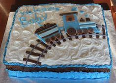 Boy Baby Shower With Train And Track On Sheet Cake