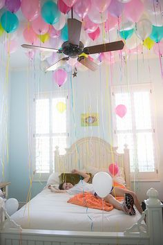 """We snuck gobs of balloons in to her room the night before her birthday (idea courtesy of Pinterest) so she would wake up to this......"" Too awesome!!!"