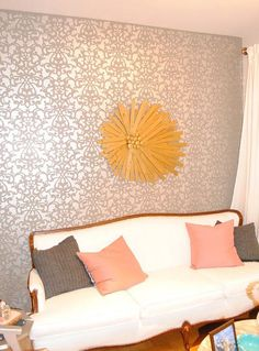 Our Donatella Damask Stencil looks positively sunny on this wall by J and J Home.