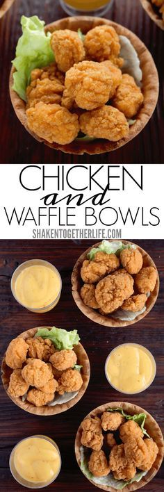 Chicken & Waffle Bowls are an unbelievably easy twist on classic chicken and waffles! Serve with honey mustard or spicy syrup for dipping and this game day appetizer is a touch down for sure!
