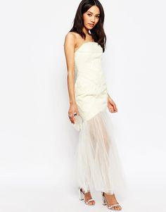 Image 4 - Jarlo Petite - Felicity - Maxi robe bandeau à corsage froncé et jupe en tulle