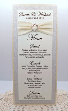 Ivory Wedding Menu Card Full of Bling Sparkle and by InviteBling