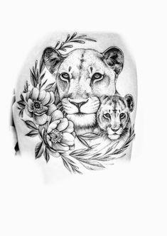 Tattoos For Kids, Tattoos For Women, Thigh Piece, Tattoo Stencils, Lion Tattoo, Animal Tattoos, Body Tattoos, Creative Art, Body Art