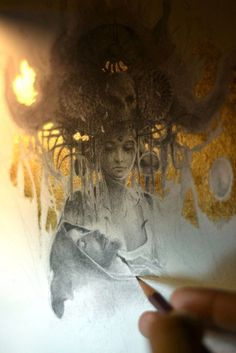 Gold leaf painting by French artist Yoann Lossel Art And Illustration, Gold Leaf Art, Gold Art, Fantasy Kunst, Fantasy Art, Feuille D'or, Painted Leaves, Victorian Art, Art For Art Sake