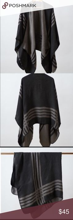"""BB Dakota Poncho Black NWT Behold the power of the poncho cardigan. Think of it as a super cute and comfy superhero cape. It features reversible stripe pattern and blanket stitch trim.   Poncho dimensions are 59"""" x 50"""" BB Dakota Sweaters Shrugs & Ponchos"""