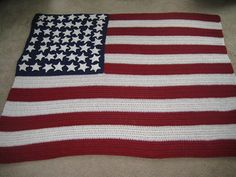 Show your patriotic spirit with this American flag afghan! (Lion Brand Yarn)