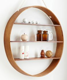 OAK Circle Shelf, dark walnut finish, three tier | Bride & Wolfe